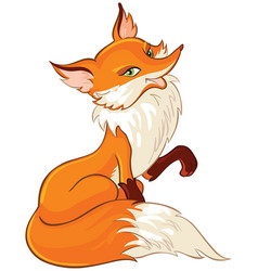 Cute fox cartoon isolated on white vector