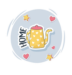 Cute kettle with hearts stuff for cards stickers vector