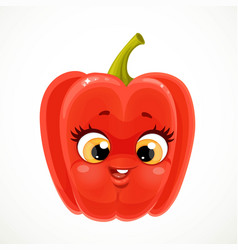 Cute little emoji red bell peppers isolated on vector