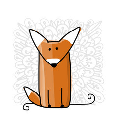 Cute red fox sketch for your design vector