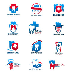 Dental clinic tooth and dentist icons vector