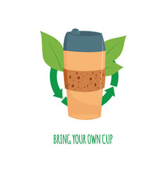 disposable coffee tea cup with green leave vector image