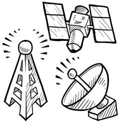 doodle radio tower dish satellite antenna vector image