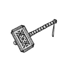Dotwork war hammer vector