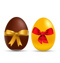 easter gold and chocolate eggs with bow vector image