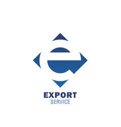 export service delivery letter e icon vector image