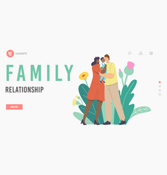 Family relationship landing page template vector