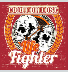 Fight or lose skull hand drawing vector