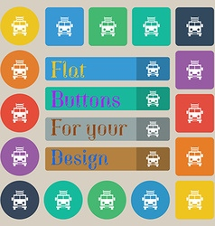 Fire engine icon sign Set of twenty colored flat vector