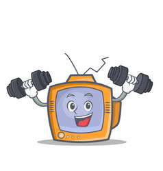 Fitness tv character cartoon object vector