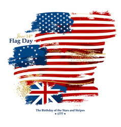 Flag day card with american flags vector