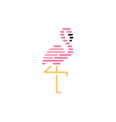 flamingo logo stripes icon vector image