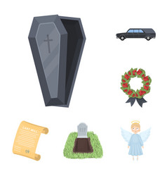 Funeral ceremony cartoon icons in set collection vector