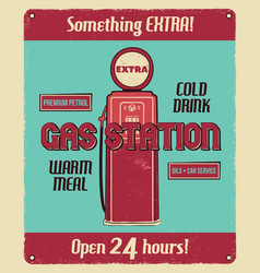 gas station service vintage poster with retro gas vector image