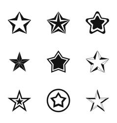 Geometric figure star icons set simple style vector