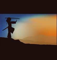 girl training with sword shadow vector image