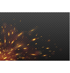 Glowing red flying fire sparks fire isolated vector