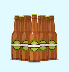 Group of attractive beer bottles on a blue vector