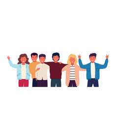 Group of friends embrace and stand together vector