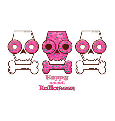 halloween skull donats and skull vector image