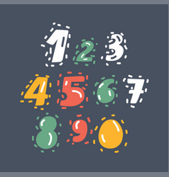 hand drawn numbers set vector image