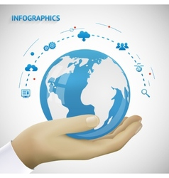 Hand Holding Earth Infographics Connection Icons vector