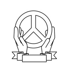hand with peace symbol vector image