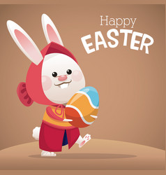 Happy easter card cute girl bunny egg vector