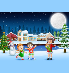 Happy family celebration a christmas day outdoors vector