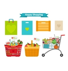 Happy shopping concept Only fresh and natural vector image