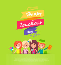 Happy teachers day and ribbons vector