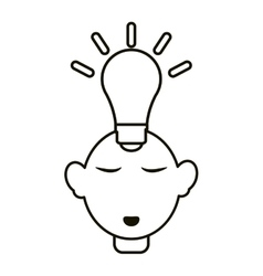 head thinking bulb idea innovation outline vector image