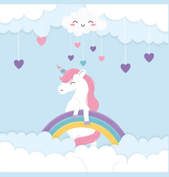 Hearts rainbow unicorn fantasy magic cartoon vector