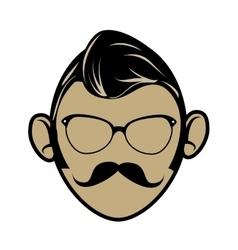 Hipster cartoon face vector image