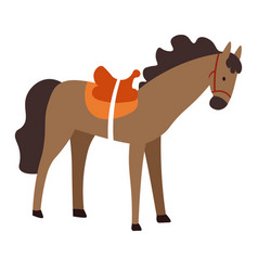 Horse with saddle domestic animal stallion or vector