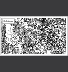 Kuala lumpur malaysia city map in black and white vector