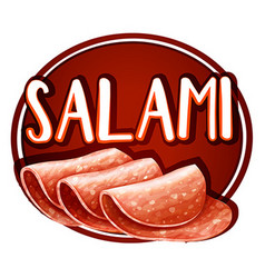 Label design with salami slices vector