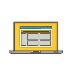 Laptop with open browser flat vector