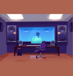 Modern audio recording studio interior vector