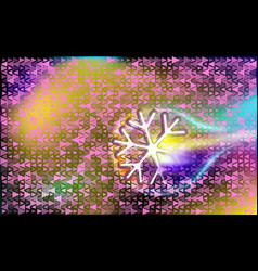 motley flying like a comet snowflake on a pink vector image