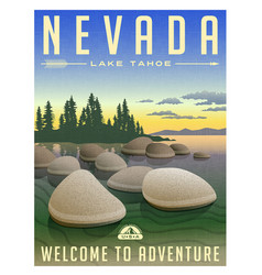 Nevada lake tahoe travel poster vector