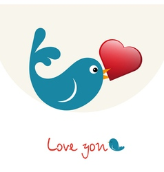 Nice enamoured birdie with heart vector image