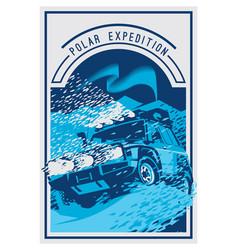Off-road car logo safari suv polar expedition vector