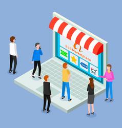 Online shop isometric 3d laptop customers women vector