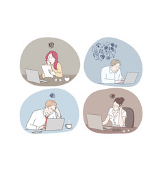online work thinking during work with laptop in vector image