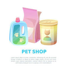 pet shop banner ffood and sand shampoo cleaning vector image