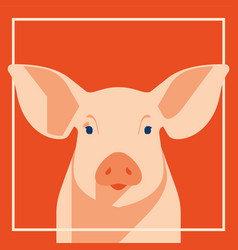 pink pig in flat style a symbol of the 2019 vector image