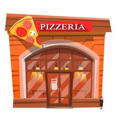 Pizzeria exterior facade pizza house bistro vector