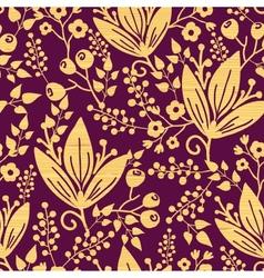 Purple wooden flowers seamless pattern background vector
