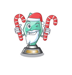 Santa with candy acrylic trophy stored in cartoon vector